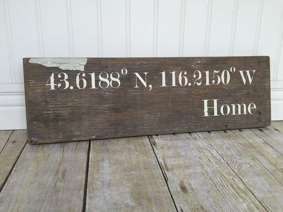 BOISE, ID Coordinates- Rustic Home Décor Idaho Sign- Farmhouse - Reclaimed Wood Boise WB Designs
