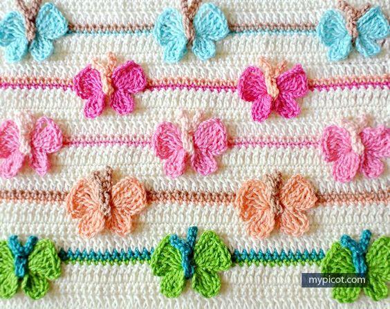 Crochet Butterfly Stitch Tutorial - (mypicot)** ༺✿ƬⱤღ http://www.pinterest.com/teretegui/✿༻