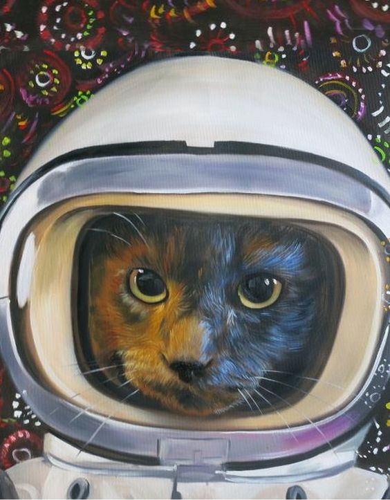 Space cat art cats spacesuit pet gift idea custom oil painting from Splendid Beast
