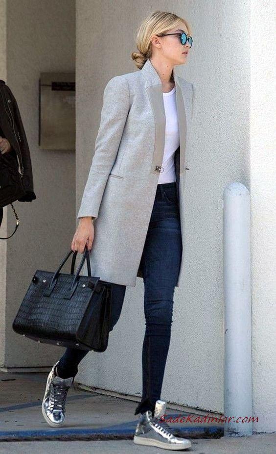 2019 Canta Kombinleri Lacivert Pantolon Beyaz Bluz Gri Uzun Ceket Gri Spor Ayakkabi Siyah El Cantasi Stil Kiyafetler Moda Tarz Moda