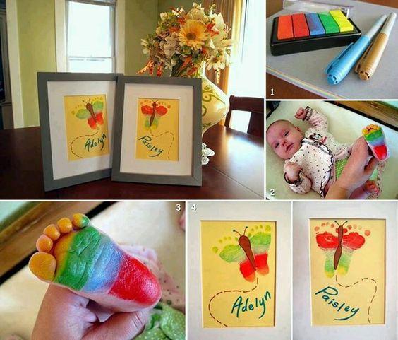Baby foot print art