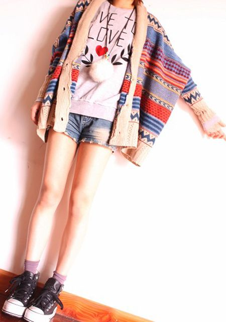 2013 kolorowy sweter narzutka ponczo
