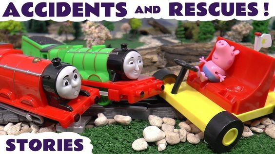 Thomas and Friends Accidents and Rescues with Peppa Pig Minions Batman a...