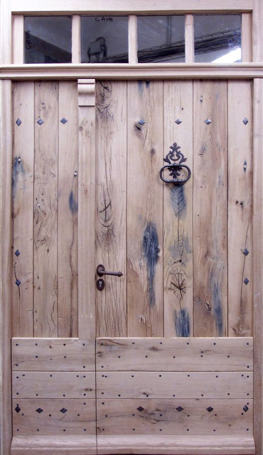 Double leaf Old Oak door Made from salvaged 100 year old oak. Front doors . Portes Antiques - french manufacturer, restoring and creation