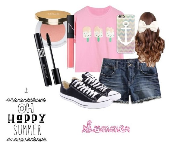 Summer Look by rysasaujani featuring Lucky Brand, Converse, Casetify, H&M, Isaac Mizrahi and NARS Cosmetics