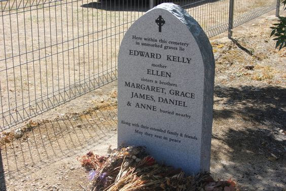This is the final resting place of Ned Kelly, the famous, or infamous, bushranger who was hanged for his crimes on 11th November, 1880.  In 2013 members of the Kelly family joined to grant him his dying wish and his remains were moved from Melbourne to Greta where they were interred in the same cemetery as his brother & fellow gang member, Dan Kelly, and Steve Hart who was also part of his gang. His mother, Ellen and other siblings are buried in unmarked graves nearby.