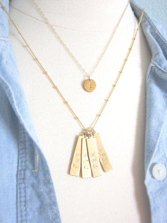 gold bar custom necklace