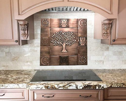 Tree Of Life Set Of 17 Handmade 100 Copper Tiles Copper Craft Copper Tiles Feature Tiles Beautiful Tree
