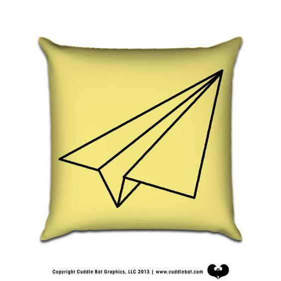 Paper Plane  Original Illustration Sofa Throw Pillow by cuddlebat, $35.00