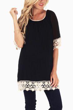 Black Lace Trim Maternity Tunic