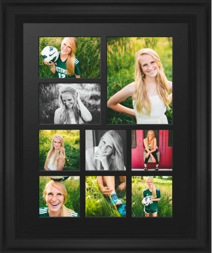 Hero Nine Up Portrait Deluxe Mat Framed Print, Black, Classic, Black, Single piece, 16 x 20 inches