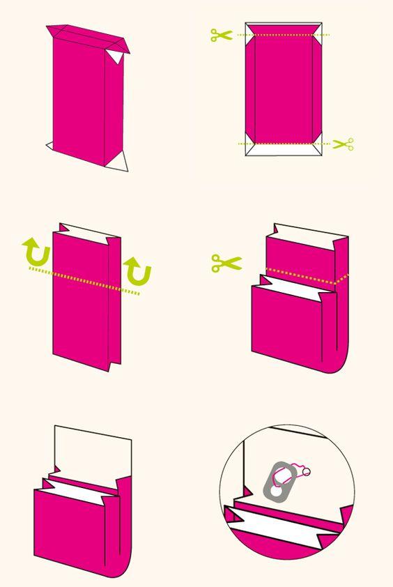 C mo hacer una cartera con una caja de leche - Como forrar una caja con tela ...