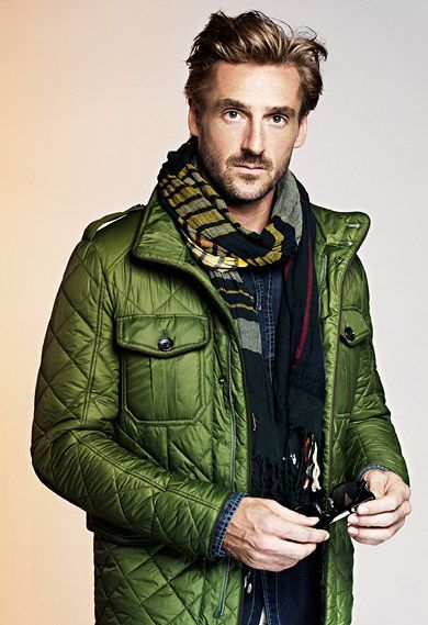 Green Quilted jacket, Plaid Scarf, and Denim Shirt. Men's Fall ...