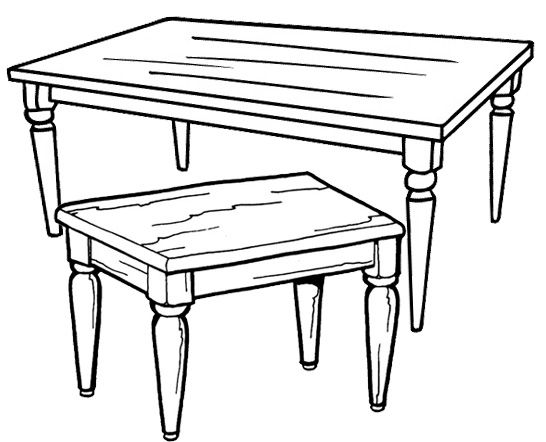 Wooden Table Coloring Page Wooden Tables Simple Table Wooden