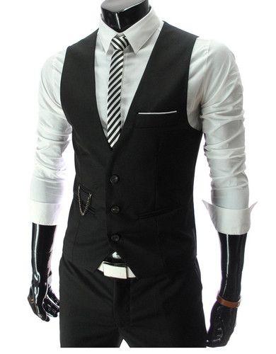 Men Formal Slim Fit Pocket Design Casual Fashion V Neck Vest Coat