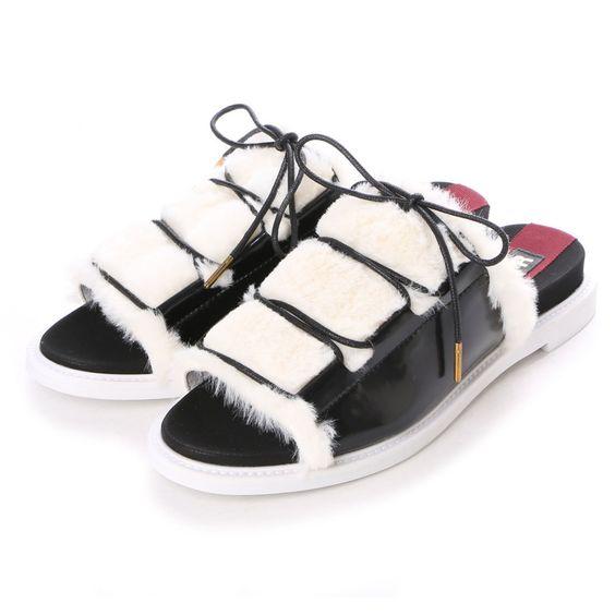 フラッパー flapper ファーサンダル (ブラックコンビ) -靴とファッションの通販サイト ロコンド