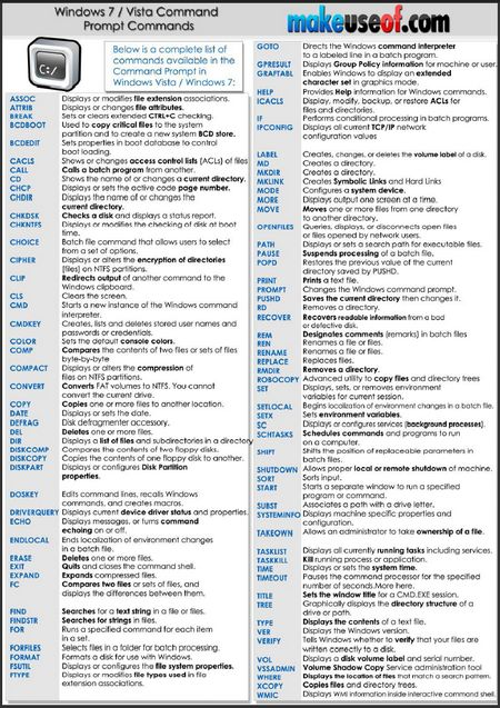This cheat contains nearly complete list of command prompt commands available on Windows 7 and Vista.