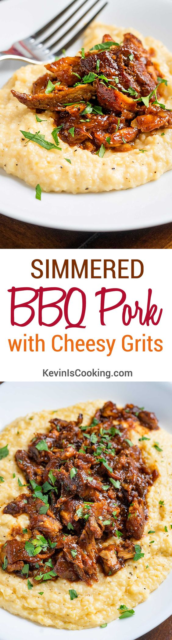 BBQ Pork with Cheesy Grits. www.keviniscooking.com