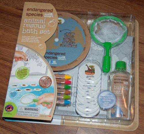 This bath play set teaches kids about endangered animals.