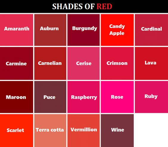 shades of red | Colour Thesaurus and words | Pinterest ...