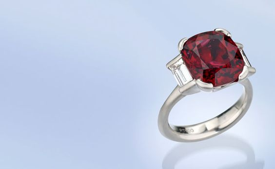 Platinum ring featuring a 10.08 ct. cushion-cut Spinel accented with Diamond baguettes (1.09 ctw.), by Michael Endlich