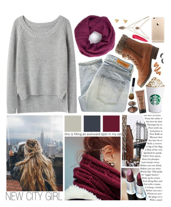 """Fall time in New York City"" by wheezzyseed ❤ liked on Polyvore featuring Denham, Yumi, rag & bone, Charlotte Russe, NARS Cosmetics, L'Oréal Paris, philosophy, Bare Escentuals, shu uemura and Argento Vivo"