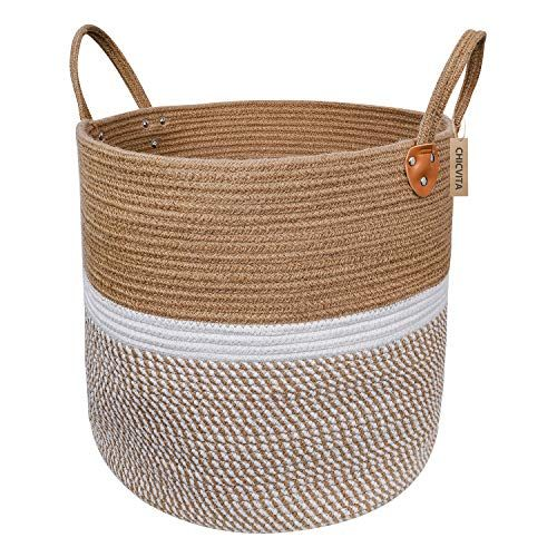 Chicvita Extra Large Jute Basket Woven Storage Basket With Handles Natural Laundry Basket T In 2020 Woven Baskets Storage Blanket Basket Jute Basket
