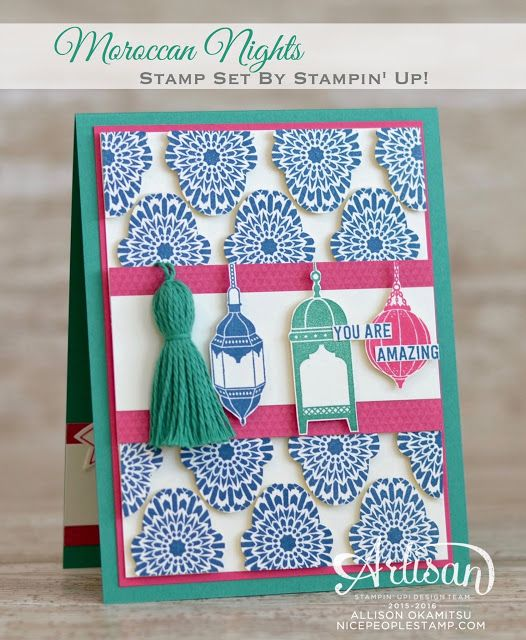 Make a beautifully tiled background on your card using the Moroccan Nights stamp set and the Fox Builder Punch! - Allison Okamitsu: