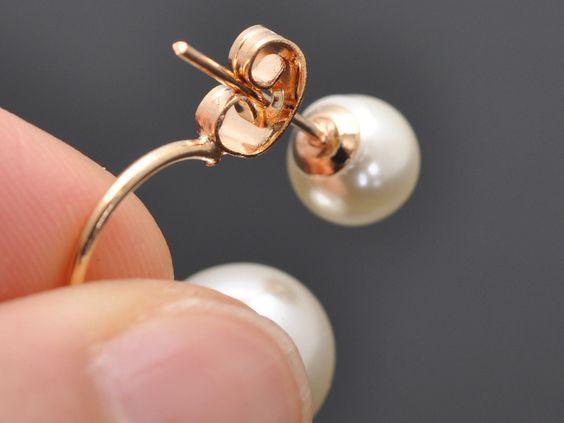 Luxus Ohrringe Ohrstecker doppelt Perlen Schmuck Perlenohrringe Gold Mode Damen   eBay