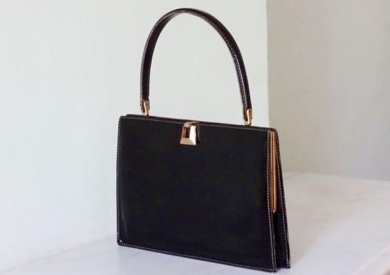 Slim and sleek. Vintage French Black Patent Leather Handbag by Decofanatique