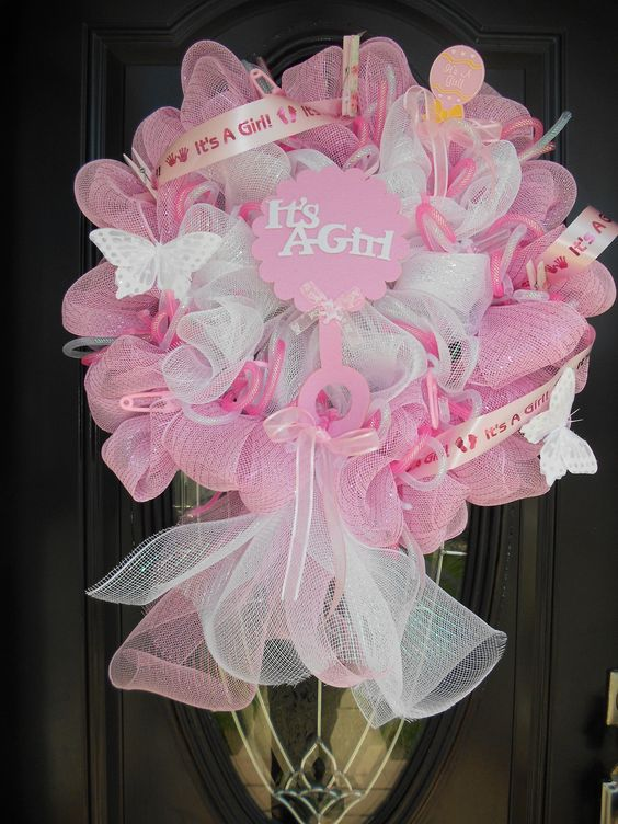 Deco Mesh Wreaths Babies And Baby Shower Wreaths On Pinterest
