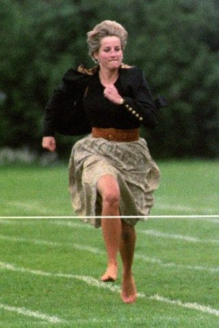 Diana Princess of Wales, barefoot and beautiful, participating in mothers' race at the boys school.