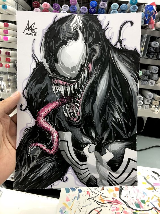 "Stanley Artgerm Lau on Twitter: ""(62:200) My first Venom sketch. Kinda fun. #venom #spiderman #artgerm200… """