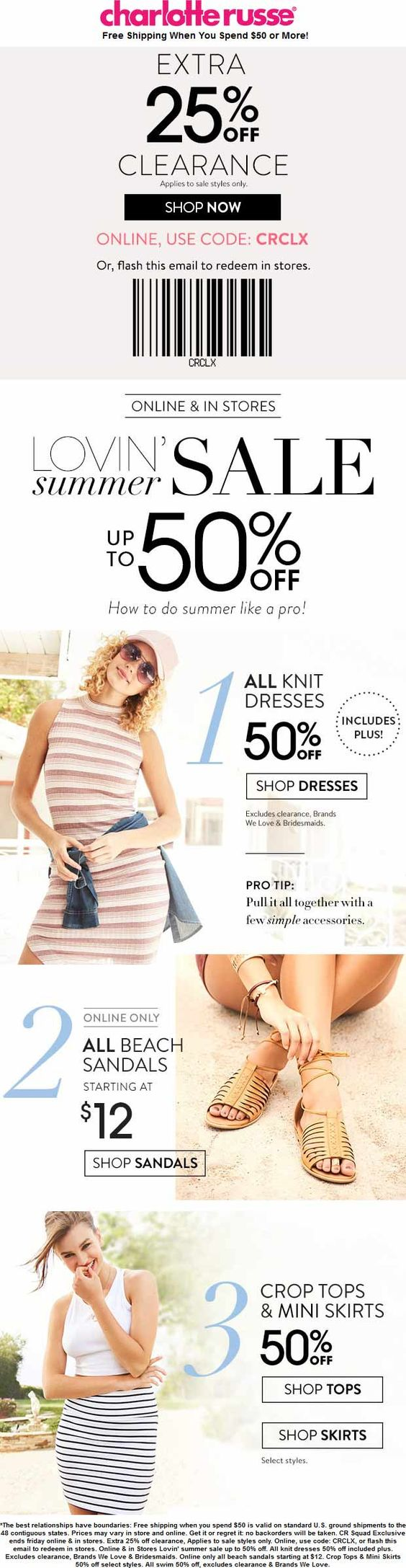 Pinned June 23rd: Extra 25% off clearance & more at #CharlotteRusse or online via promo code CRCLX #TheCouponsApp