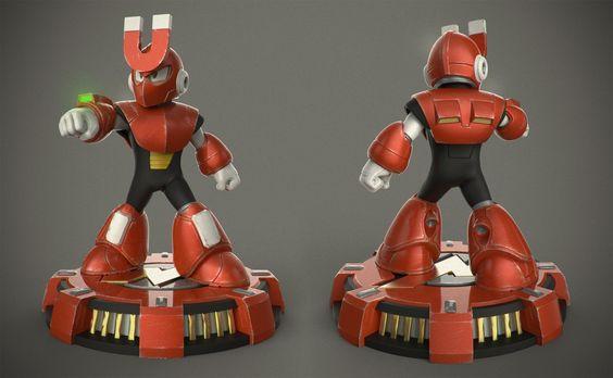 Magnetman - Megaman 3, Dan Mitchell on ArtStation at https://www.artstation.com/artwork/magnetman-megaman-3