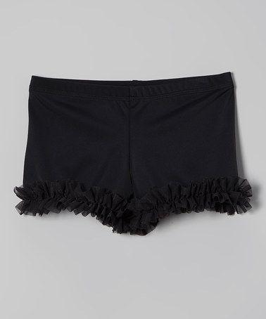Another great find on #zulily! Black Ruffle Dance Shorts - Toddler & Girls #zulilyfinds