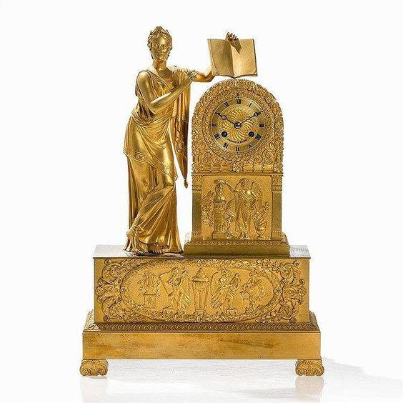 Reloj de bronce (en parte dorado), latón, metal, vidrio  Francia.