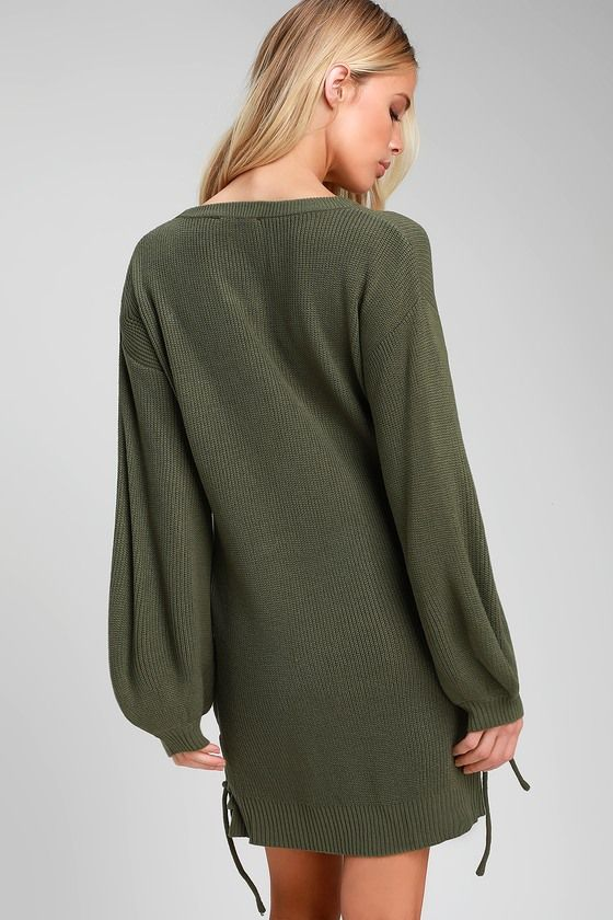 Lalianna Olive Green Balloon Sleeve Lace Up Sweater Dress