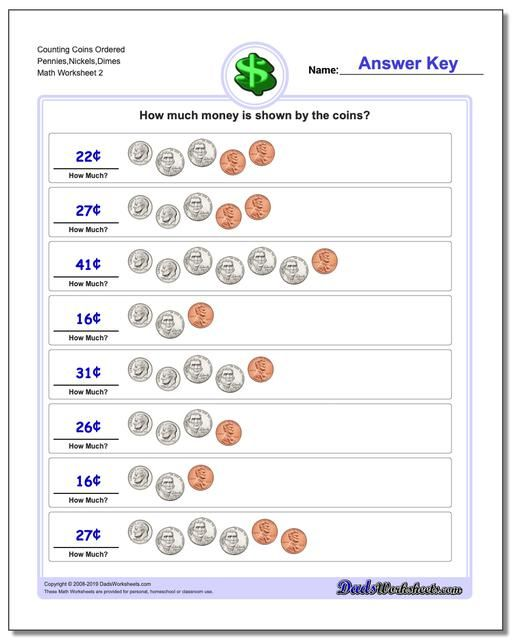 Https Www Dadsworksheets Com Counting Coins Ordered Pennies Nickels Dimes Worksheet Money Worksheet Counting Coins Money Worksheets Kindergarten Worksheets Simple making change worksheets