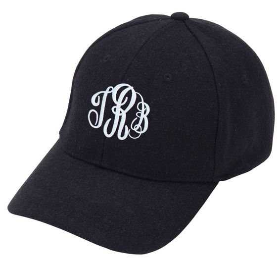 Black Wool Monogrammed Baseball Cap