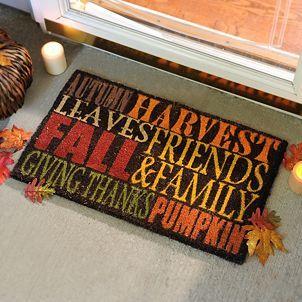 Autumn Harvest Typography Doormat   Kirklands