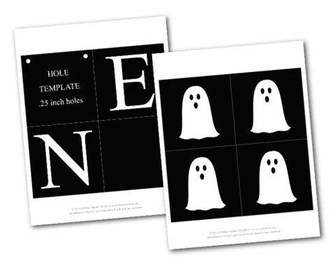 Happy Halloween 2020 Printable Black Printable Happy Halloween Banner With Ghosts in 2020   Happy