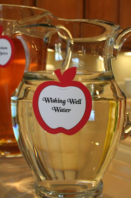 A Snow White Birthday Party, Wishing Well Water. Could be infused with mint and fruit!