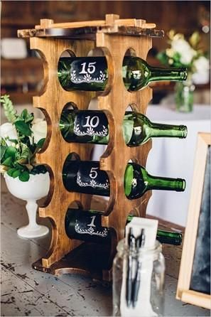 "Whether you ""message in a bottle"" your guest book by reusing old bottles (below, left) or have your guests sign the labels of bottles to be opened in the future (below, right), this is a perfect idea for a vineyard wedding. Make sure to include metallic Sharpies if you want your guests to sign the actual bottle, so that the ink shows up on the dark glass. @myweddingdotcom"