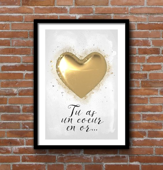 "Affiche Illustration romantique ""Tu as un coeur en or..."" - Format A3 : Affiches, illustrations, posters par ili:"