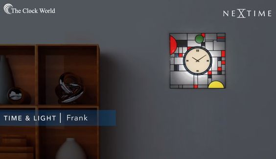 """#DidYouKnow NeXtime asked Erwin Klijn to design a wall clock inspired by Frank Lloyd Wrights' famous stained glass panels. """"I like to think of this design as a modern interpretation of Frank Lloyd Wrights' colourful patterns, which he designed for the Coonley Playhouse in 1911/1912.""""#TheClockWorld stores are the first store selling only Clocks in #India from the year 2009. #Clocks #HomeDecor #Ahmedabad"""