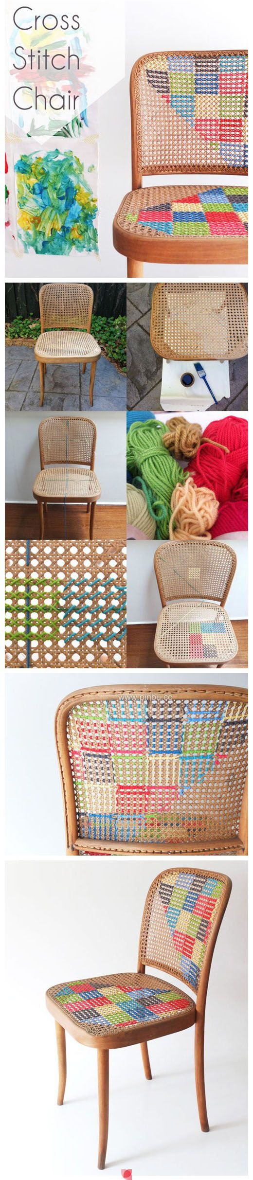 cross stitch chair ~ have to start looking for chairs like this!: