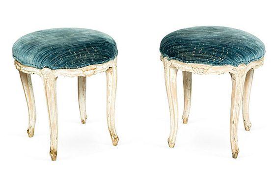 Gustavian Stools, Pair.  Antique Gustavian stools upholstered in Scalamandré silk velvet fabric.