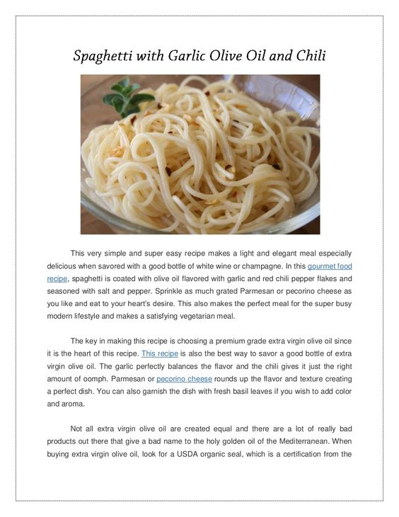 spaghetti-with-garlic-olive-oil-and-chili by Arya McLean via Slideshare