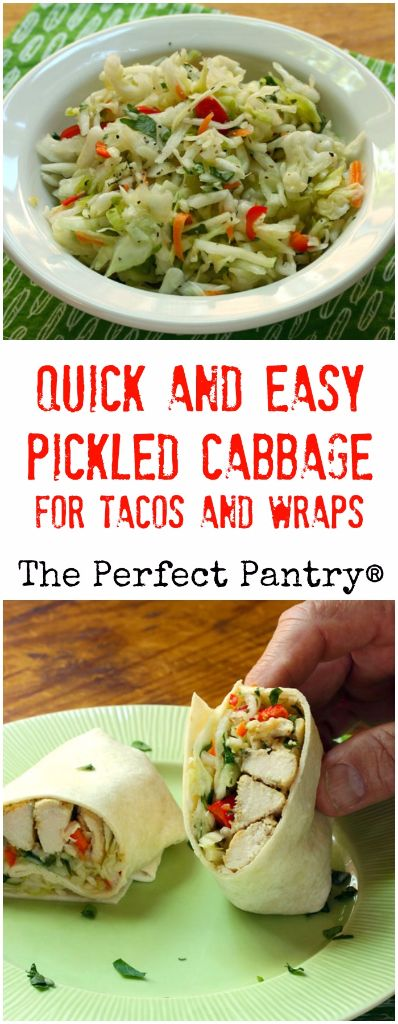 Quick and easy pickled cabbage, with jalapeño peppers and cilantro, is the topping you'll want for your fish tacos and wraps. #vegan #glutenfree